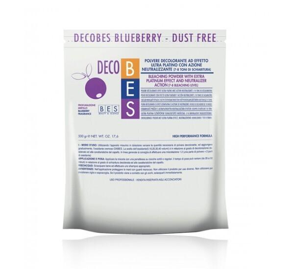 ОБЕЗЦВЕТЯВАЩ ПРАХ С АНТИ-ЖЪЛТ ЕФЕКТ BES Deco Bes Blueberry Dust Free 500g